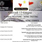 Menu for Wine, Shine & Dine 6/13/2013 featuring Fabrizio Dionisio at Pane e Vino!